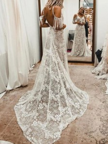 Boho A-Line V Neck Backless Ivory Lace Wedding Dresses,Beach Bridal Gown