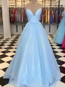 Classy A-Line Sweetheart Spaghetti Straps Blue Lace Prom Evening Dresses,Formal Party Gowns