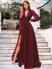 Simple A-Line V Neck Long Sleeve Burgundy Chiffon Long Prom Evening Dresses with High Split,Formal Party Dresses
