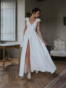Elegant A-Line V Neck Cap Sleeve White Satin Wedding Dresses with High Split