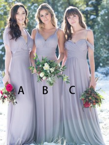 Simple A-Line Sweetheart Open Back Grey Chiffon Long Bridesmaid Dresses Under 100