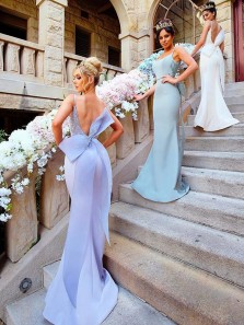 Unique Mermaid Scoop Neck Backless Lavender Satin Long Bridesmaid Dresses with Bow