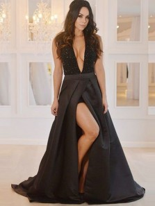 Sexy A-Line Deep V Neck Backless Black Satin Long Prom Dresses with Beaded Slit,Evening Party Gown