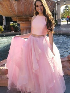 Unique Two Piece Round Neck Open Back Pink Satin Tulle Long Prom Dresses with Beading,Formal Prom Dresses
