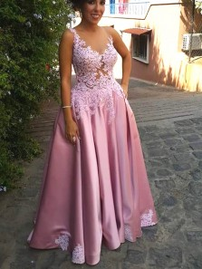 A-Line V Neck Blush Pink Satin Long Prom Dresses with Appliques,Evening Party Dresses