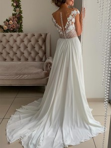 Gorgeous A-Line Off the Shoulder White Chiffon Lace Wedding Dresses,Elegant Beach Bride Dresses