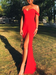 Simple Mermaid Off the Shoulder Red Elastic Satin Long Prom Dresses with High Split,Evening Party Dresses
