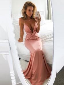Stunning Mermaid Deep V Neck Cross Back Blush Elastic Satin Long Prom Dresses,Charming Evening Party Dresses