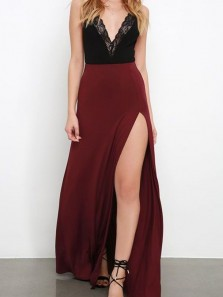 Sexy V Neck Open Back Burgundy Satin Long Prom Dresses with Side Split,Evening Party Dresses
