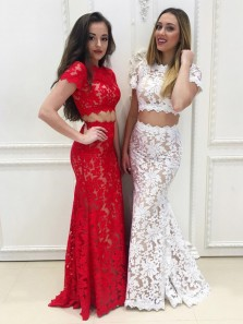Fancy Mermaid Round Neck Short Sleeve Two Piece White Lace Long Prom Dresses,Charming Evening Party Dresses