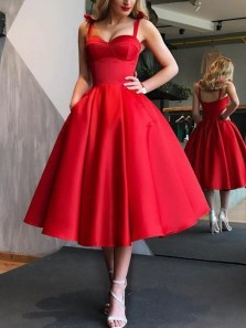 Vintage A-Line Sweetheart Open Back Red Satin Below Knee Length Prom Dresses with Pockets,1950s Vintage Dresses