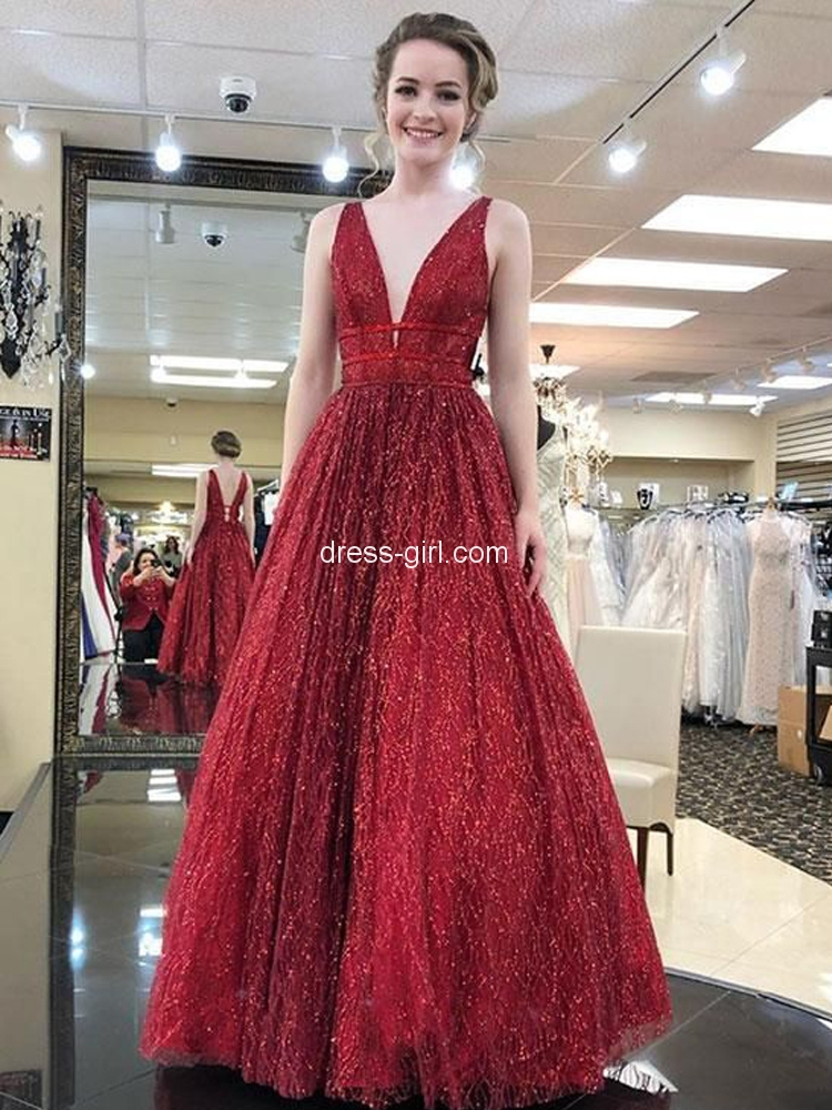 3ea0e5646bc Sparkly A-Line V Neck Open Back Dark Red Sequins Long Prom Dresses,Quinceanera  Dresses