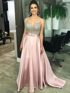 Charming A-Line V Neck Spaghetti Straps Open Back Blush Satin Long Prom Dresses with Beading