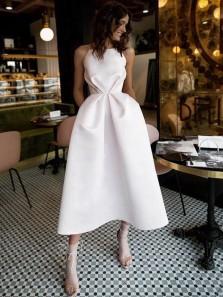 Simple A-Line Spaghetti Straps Open Back White Satin Tea Length Wedding Dresses