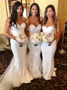 Simple Mermaid Sweetheart Spaghetti Straps White Elastic Satin Long Bridesmaid Dresses
