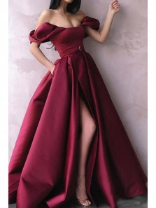Charming A-Line Off the Shoulder Burgundy Satin Long Prom Dresses with High Split,Evening Party Dresses with Pockets