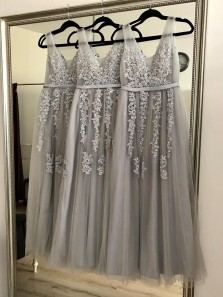 Stunning A-Line V Neck Open Back Grey Tulle Long Bridesmaid Dresses with Appliques,Pink Prom Dresses