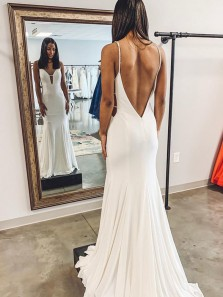 Charming Mermaid V Neck Backless White Long Prom Dresses,Evening Party Dresses