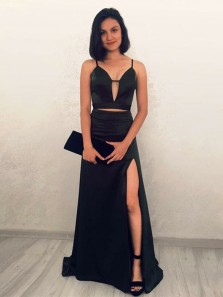 Chic Two Piece V Neck Spaghetti Straps Open Back Black Elastic Satin Long Prom Dresses with Split,2019 Evening Party Dresses