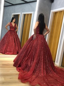 Luxurious Ball Gown V Neck Open Back Burgundy Sequins Long Prom Dresses with Train,Formal Evening Party Dresses