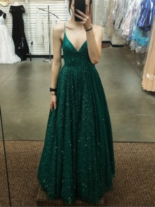 Stunning A-Line V Neck Spaghetti Straps Open Back Green Sequins Long Prom Dresses,Formal Junior Graduation Gown