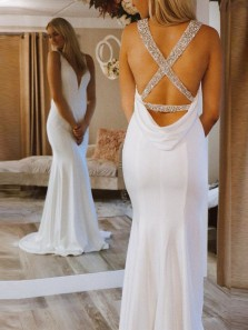 Elegant Mermaid V Neck Cross Back White Wedding Dresses with Beading