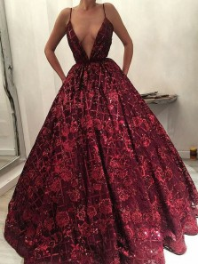 Luxurious Deep V Neck Open Back Burgundy Lace Long Prom Dresses,Charming Formal Party Dresses