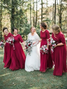 Elegant A-Line Round Neck Half Sleeve Red Chiffon Bridesmaid Dresses with Lace Top