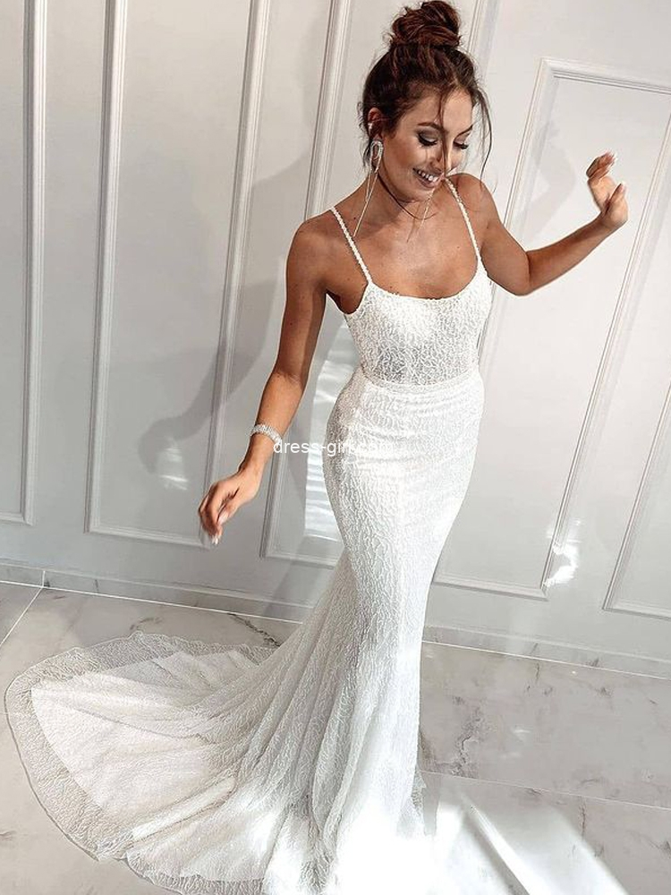 Unique Mermaid Scoop Neck White Sequins Beaded Wedding Dresses with Train