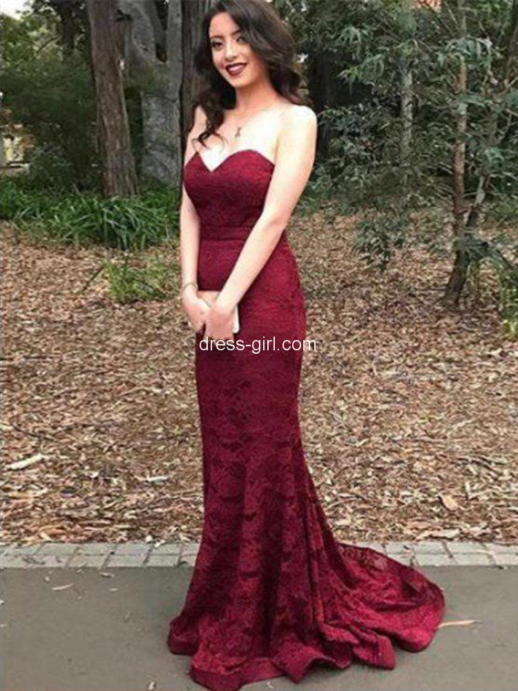 b23704c2d77 Sexy Mermaid Sweetheart Open Back Burgundy Floral Lace Long Prom Dresses,Evening  Party Dresses