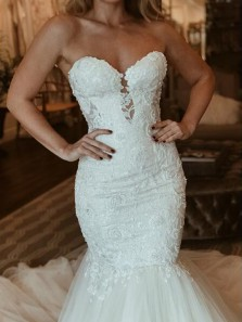 Elegant Mermaid Sweetheart Open Back White Lace Wedding Dresses