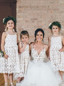 Cute A-Line Square Neck Straps Ivory Lace Flower Girl Dresses,Birthday Party Dresses