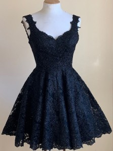 Modest A-Line Sweetheart Open Back Navy Blue Lace Short Homecoming Dresses,Short Prom Dresses