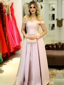 Charming A-Line Off the Shoulder Lace-up Back Blush Satin Long Prom Dresses,Elegant Evening Party Dresses