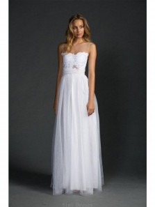 White Beach Sleeveless Floor length A-line Tulle Wedding Dresses With Applique