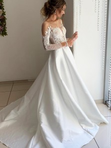 Elegant A-Line Scoop Neck Long Sleeve White Satin Lace Wedding Dresses,Simple Bride Dresses