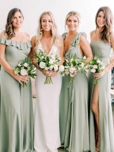 Elegant Sheath Off the Shoulder Mint Chiffon Long Bridesmaid Dresses