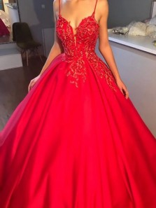 Charming Spaghetti Straps Sweetheart Open Back Red Satin Long Prom Dress with Appliques,Elegant Evening Party Dresses