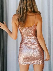Sexy Bodycon V Neck Spaghetti Straps Open Back Champagne Sequins Mini Party Dresses