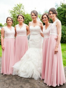 Elegant A-Line V Neck Pink Chiffon with White Lace Long Bridesmaid Dresses