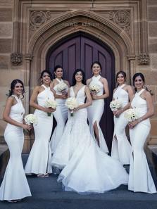 Vintage Mermaid Halter Open Back White Satin Long Bridesmaid Dresses with Split