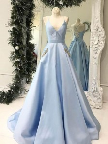 Elegant A-Line V Neck Cross Back Blue Satin Long Prom Dresses with Beaded Pockets,Evening Party Dresses