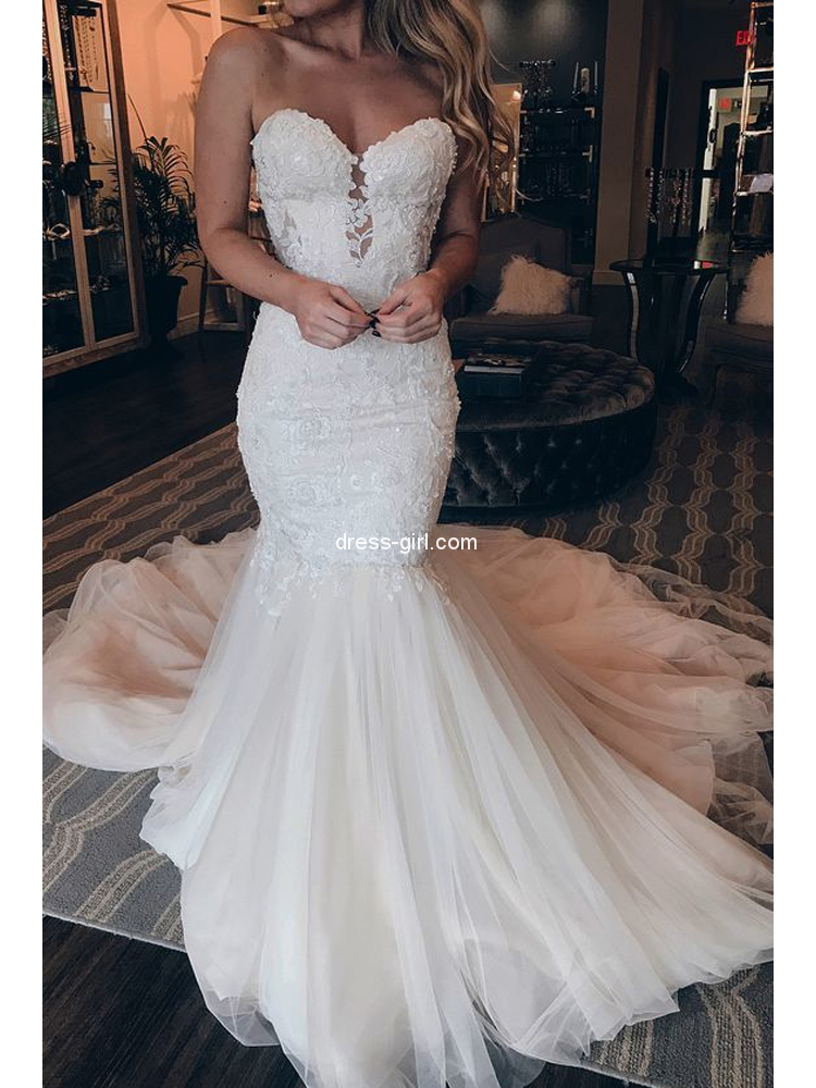 Elegant Mermaid Sweetheart Open Back White Lace Wedding Dresses Dress Girl Com