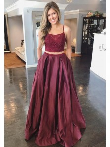 Charming Two Piece A-Line Scoop Neck Cross Back Burgundy Satin Long Prom Dresses with Beading Appliques,Formal Evening Party Dresses