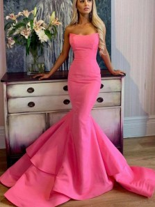 Glamorous Mermaid Strapless Hot Pink Satin Long Prom Dresses,Charming Evening Party Dresses