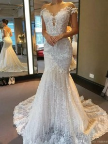 Unique Mermaid Off the Shoulder Ivory Lace Appliques Wedding Dresses 191103017