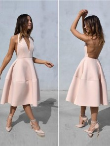 Simple A-Line V Neck Backless Pearl Pink Satin Tea Length Prom Dresses