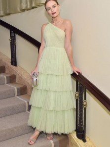 Princess A-Line One Shoulder Avocado Green Tulle Long Prom Dresses,Tiered Evening Party Dresses