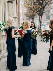 Charming Sheath Scoop Neck Cap Sleeve Navy Blue Elastic Satin Long Bridesmaid Dresses