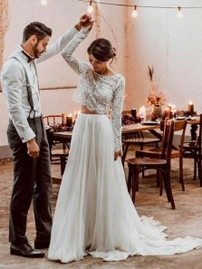 Boho Two Piece Round Neck Long Sleeves White Lace Top Wedding Dresses
